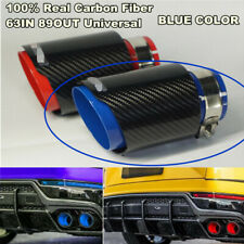 63mm - 89mm Black &Blue 100%Carbon Fiber Sport Style Glossy Exhaust Tips Muffler