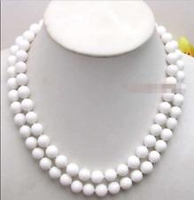 10MM White Round beads White Jade Necklace 36inch JN1031