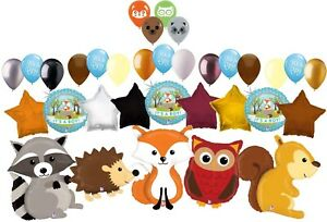 33 Pc Woodland Creatures It's a Baby Boy Animal Balloon Bouquet Party Decoration