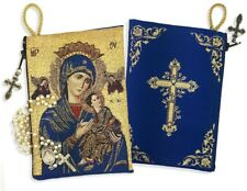 2 Sided Our Lady of Perpetual Help Christ Cross Tapestry Rosary Keepsake Pouch