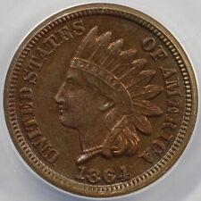 1864 1c Copper Nickel Indian Head Cent ANACS AU 58