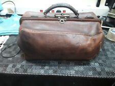 Vintage/Antique BROWN LEATHER Gladstone Medical Bag DOCTORS BAG