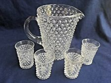 Duncan Miller Water Pitcher and 4 Tumbler Juice Glasses Hobnail Clear EAPG