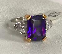 Park Lane Royal Purple Emerald Cut Cz Ring Size 10 Silver Tone Rare Amazing!