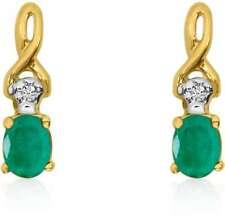 14K Yellow Gold Oval Emerald & Diamond Earrings E2521-05