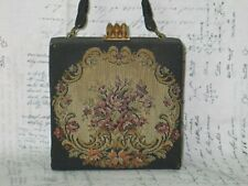 Antique Vintage Tapestry Purse from Belgium- Floral Weave Purse Handbag