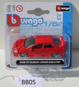 Bburago 1:64 2008 Mitsubishi Lancer Evolution Red 18-59016 FNQHotwheels BB05
