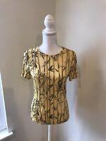 Les Copains Shirt Top Women's Yellow Short Sleeve Gold US Size Medium Great