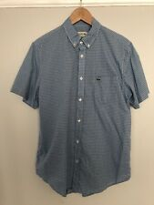 LACOSTE MENS SHIRT WHITE BLUE CHECKED SIZE 40 MEDIUM SHORT SLEEVE