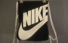 Nike Black Drawstring Backpack Cinch Sack Gym Bag with zippered pouch