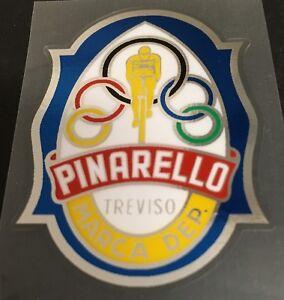 Pinarello Head Badge Decal (Gold Rider) - Chrome Border (Pina702)
