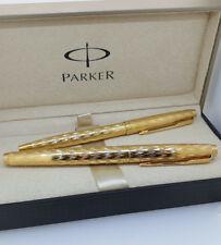 PARKER PEN Set Fountain & Ballpoint Pen 20k Gold Plate Vintage 80s