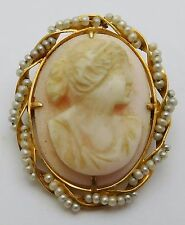 VICTORIAN Solid 14k Gold / Carved Natural Shell / Pearls Cameo Ladies Brooch Pin