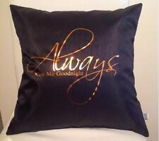 Always kiss me goodnight  Pillow cover with bronze letters Valentines gift