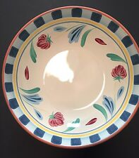 Lenox Poppies on Blue Terracotta Large Pasta Serving Bowl Portugal Perfect Cond.