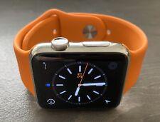 Apple Watch 42mm Stainless Steel Case Orange Sport Band