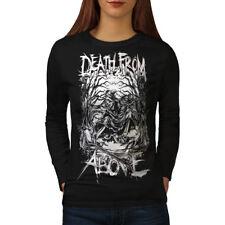 Wellcoda Death Reaper Goth Womens Long Sleeve T-shirt, Horror Casual Design
