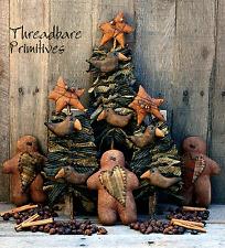 PATTERN Primitive Gingerbread Man Doll & Christmas Tree Ornies w/ Crows & Stars