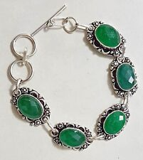 Sterling Silver Overlaid Lab Created Faceted Emerald Link Bracelet