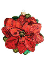 Poinsettia Flower Polish Mouth Blown Glass Christmas Ornament Tree Decoration