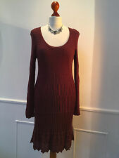 MISSONI  fine knit dress in burgundy / wine - IT 48 - UK 16  (small)