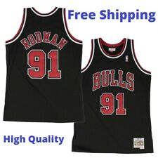 Dennis Rodman #91 Chicago Bulls Men's M&N Black Throwback Jersey
