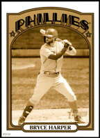 Bryce Harper 2021 Topps Heritage 5x7 Variations Gold #13A /10 Phillies Action
