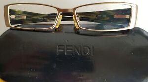 FENDI Designer Glasses & Case - Stylish Green/Gold Full Rim Frames