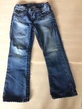 TRUE RELIGION SUPER T BILLY BOLD Big BLACK Stitch Size 5 Jeans DISTRESSED