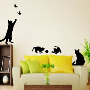 cute black Cat Play Butterflies Removable House Decoration Decals Wall Sticker