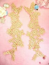 """Lace Costume Appliques Gold Floral Embroidered Mirror Pair Motifs 14""""  DH89"""