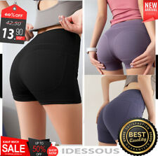 Yoga Shorts mit Tasche Hotpants Stretch Sport Leggings kurze Hose schwarz Damen