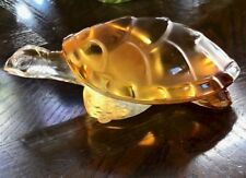 Lalique Tortue Caroline Turtle Figurine Crystal Amber Signed Authentic Mint