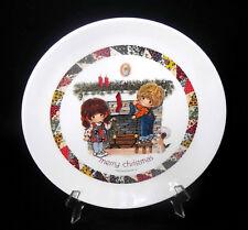 Christmas Plate Boy Girl Patchwork Border Gentle Treasures 1973 Stockings White