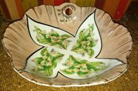 """UCAGO? VINTAGE LILY OF THE VALLEY LUSTERWARE BOWL SMALL BASE CHIP JAPAN """"AS IS""""!"""