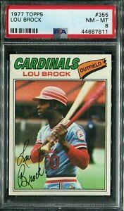 1977 Topps #355 Lou Brock PSA 8 NM-MT