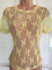 BNWT NEW LOOK 10 petite teens ladies yellow floral lace mesh t-shirt party top