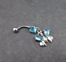 Cz Gem Surgical Steel 316L 14g Butterfly Dangle Belly Button Ring Aqua Blue