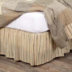 KING Size Bed Skirt Bedskirt Stripe Rustic Country 100% Cotton Farmhouse