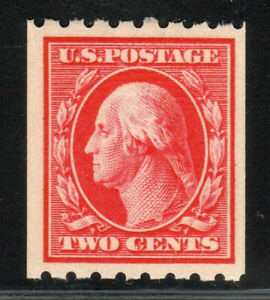 1910 US SC 391 2c Carmine George Washington Perf 8.5 Horizontal Coil - MNH VF/XF