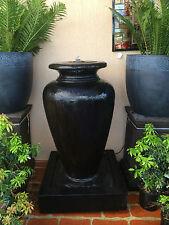 GRC Outdoor Garden Patio Water Feature Cascade Carolina Fountain Urn Black
