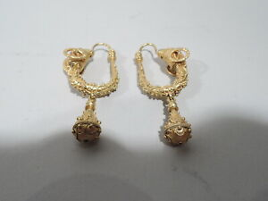 Antique Earrings Victorian Etruscan Revival Pair Jewelry Italian 18k Gold