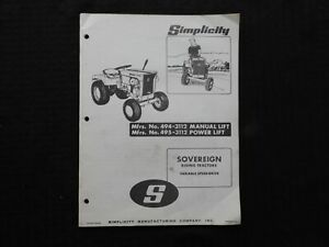 "1970 SIMPLICITY ""SOVEREIGN 725 MANUAL & POWER LIFT TRACTOR"" OWNERS PARTS MANUAL"