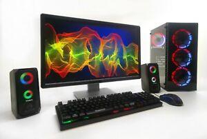 """GAMING PC Setup Quad i5 8GB 1TB 2GB GDDR5 GTX 1030 22"""" TFT WINDOWS 10"""