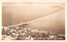 Washington real photo postcard Seattle Lake Washington Bridge floating aerial