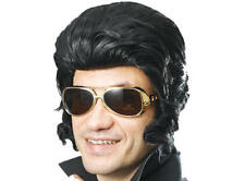 Large Black Elvis Quiff Wig & Sideburns The King Fancy Dress