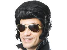 Large Black Elvis Quiff Wig & Sideburns The King Fancy Dress