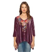 💕JWLA Tunic JOHNNY WAS Top AMBER Velvet Embroidered V Veck Blouse S $268 💕