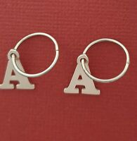 Sterling Silver Initial Letter earrings Personalised 925 Alphabet sleepers charm