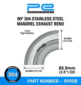 """90 degree 3.5"""" 88.9mm Tight Mandrel Exhaust Bend T304 Stainless Steel Polished"""